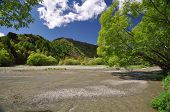 picture of gold panning  - Fox river at Arrowtown near Queenstown Otago New Zealand. The river produced large amount of gold during the 1860