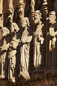 foto of stone sculpture  - Ancient stone sculptures in a spanish cathedral portico - JPG