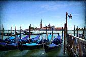 picture of gondola  - Venice with gondolas on Grand Canal against San Giorgio Maggiore church - JPG