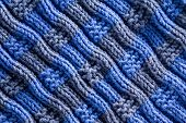 stock photo of diagonal lines  - Close up Homemade Woven Crochet in Blue and Gray Colors with Diagonal Ridge Lines - JPG