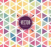 image of pattern  - Vector Watercolor seamless pattern with triangles - JPG