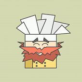 picture of chef cap  - Flat vector icon of smiling chef from triangles with mustaches and chefs hat - JPG