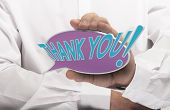 pic of thankful  - Image of a man hand holding speech balloon with the text thank you white shirt - JPG