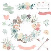 foto of terrarium  - Wedding graphic set with succulents - JPG