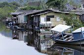 foto of poverty  - palafitas poverty over river in guaruja sao paulo brazil  - JPG