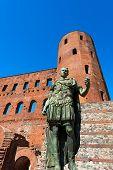 picture of torino  - Roman statue of Julius Caesar and ancient ruins of Palatine Towers in Torino Piemonte Italy - JPG