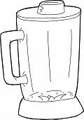 stock photo of blender  - Outline of empty closed glass blender jar - JPG