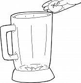 foto of blender  - Outline of cartoon blender with hand holding tomato - JPG