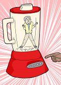 stock photo of blender  - Cartoon of claustrophobic man and finger turning on blender - JPG