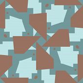 stock photo of intersection  - Intersecting brown and blue polygons in seamless pattern - JPG