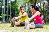 stock photo of gymnastic  - Asian woman and man - JPG