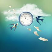 stock photo of swallow  - Concept of time vector abstract metaphor background - JPG