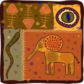 stock photo of african animals  - Pattern in African style with animals  - JPG