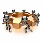 stock photo of efficiencies  - Partnership team business process workers turning gear together team work - JPG