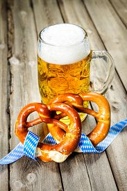 picture of pretzels  - Bavarian Beer and Pretzels with ribbon - JPG
