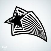 Постер, плакат: Astronomy conceptual illustration pentagonal comet star celestial object with comet tail