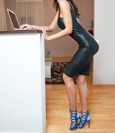 pic of tight dress  - Perfect body woman in short tight fit leather dress working on the laptop in living room - JPG