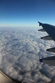pic of aeroplan  - view of clouds from the window of the aeroplane - JPG