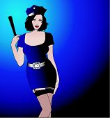 image of truncheon  - A sexy police woman in a blue uniform - JPG