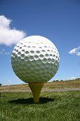 Big Golf Ball On The Tee