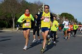 VALENCIA, SPAIN - JANUARY 10: Unidentified runners compete in the 10K Divina Pastora Valencia run on