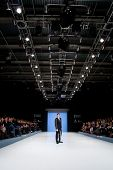 VALENCIA, SPAIN - FEBRUARY 3:  A model on the catwalk wears a Paco Roca design for the Valencia Fash