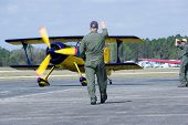 PALM COAST, FLORIDA - MARCH 27: A pilot prepares to take off at the Wings Over Flagler Air Show at t