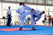 VALENCIA, SPAIN - JUNE 12: Contestants participate in the Karate Competition of the 2010 European Po