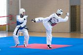 VALENCIA, SPAIN - JUNE 10: Contestants participate in the Taekwondo Competition of the 2010 European