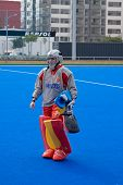 VALENCIA, SPAIN - JULY 29: Spain's National Women's Field Hockey Goal keeper, Maria Lopez de Eguilaz, just before playing the USA National Women's Team on July 29, 2010 in Valencia, Spain.