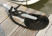 Mooring rope on a cleat with coil