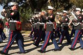 parris island marine corp band marching in formation, editorial image