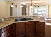 offene Küche, Blick in Wohn-