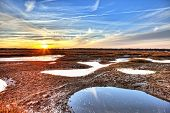 hdr image of oyster beds at low tide in south carolina