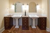 double sinks in luxury bathroom