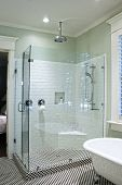 image of clawfoot  - luxurious shower in black and white tile with glass walls - JPG