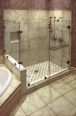 beautiful large tile shower with brass fittings