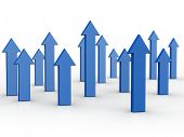 Arrows pointing up business and financial growth concept 3d illustration