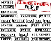 Collection of rubber stamps with words beginning with letter D, E, F. See other rubber stamp collect