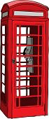 Illustration of British red phone booth in London