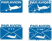 Par Avion or air mail rubber stamps. Grunge and clean illustration.