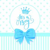 Baby Shower Card With A Bow, Crown And Hearts Pattern. poster