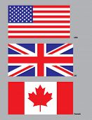 The flags of the USA, UK, and Canada. Drawn in CMYK and placed on individual layers.