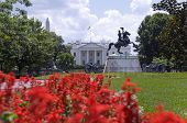 The north facade of the White House seen from Lafayette Park. The equestrian statue of President And