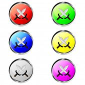 Colorful swords buttons
