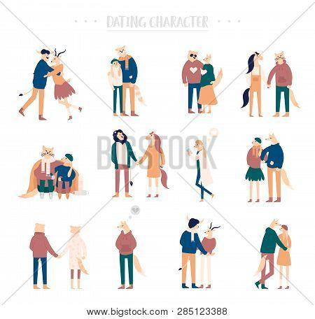 Flat Cartoon Happy Romantic Couples