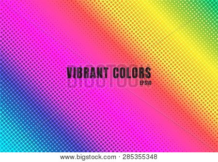 poster of Abstract Rainbow Color Background With Halftone Texture. Colorful  Smooth Gradient Dots Pattern. Vib