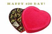 Marijuana. Marijuana or Cannabis in a Red Valentines Heart. April 20, 2019 Holiday. Happy 420 Day. i poster