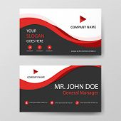 Red Corporate Business Card, Name Card Template ,horizontal Simple Clean Layout Design Template , Bu poster