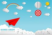 Paper Art Business Concept With Cloud And Sun , Paper Plane Flying On Sky Design, Business Startup C poster